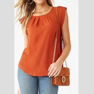 Pleat-Front High-Low Vented Top